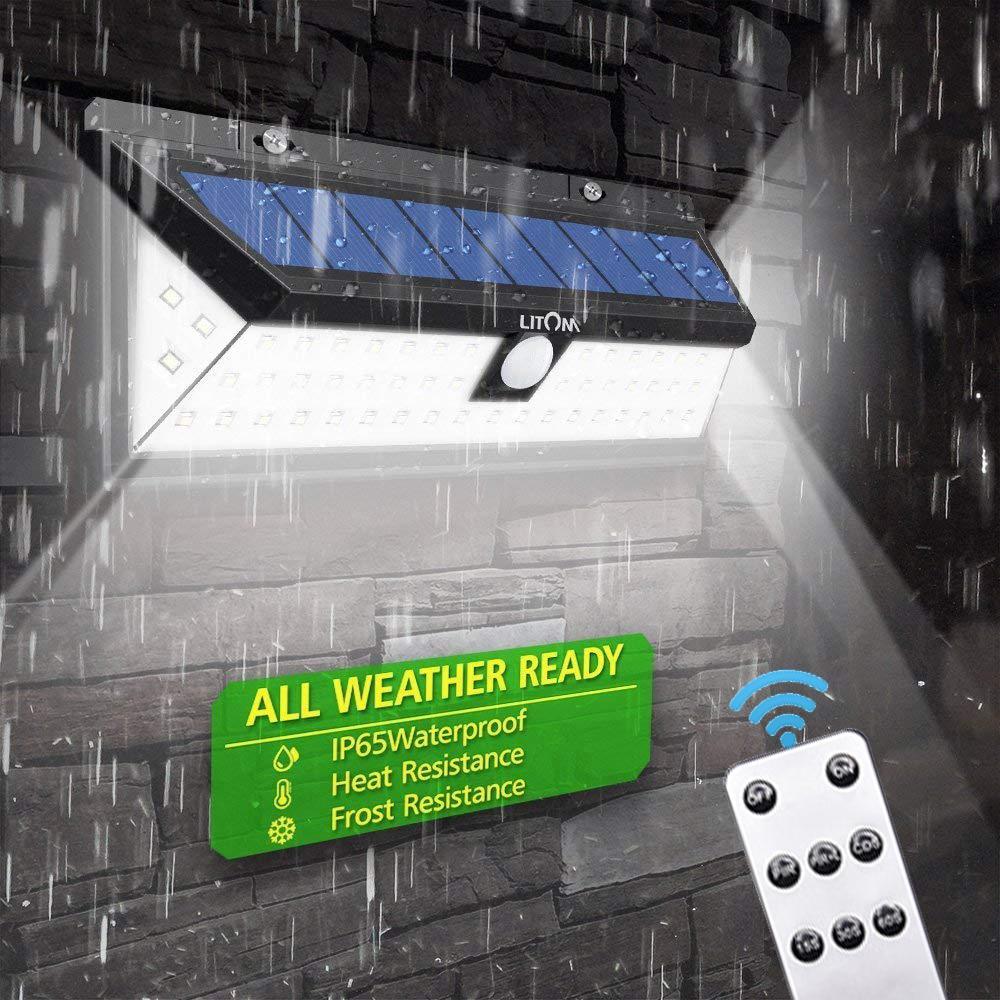 Solar Licht Outdoor Fernbedienung Wand Lampe Motion Sensor Straße Licht 248 Led Gebaut in Batterie Powered Sonnenlicht Wasserdichte ABS