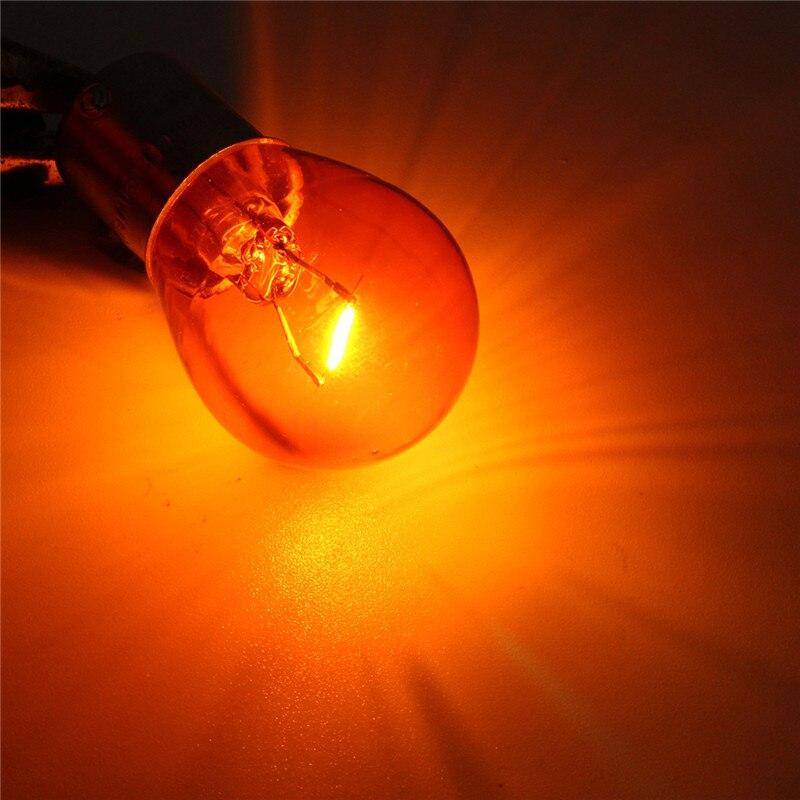 10 шт./компл. 1156 BAU15S PY21W световой индикатор автомобиля тормоз заднего хода парковка светильник желтый галогенная лампа AC/DC 12V светодиодный лампы