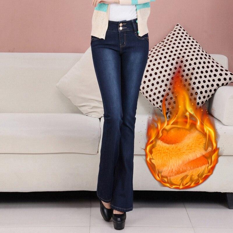 Shikoroleva, женские джинсы размера плюс, 5XL, 4XL, эластичный шнурок на талии, плотные, теплые, флисовые, женские зимние джинсы, брюки, черные, синие - 2
