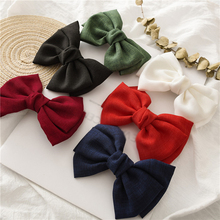 Girls New Oversized Bow Knot Hairgrips Linen Barrette Hair Clip Ponytail Women Elegant Headwear Hairpins Red White Acessory