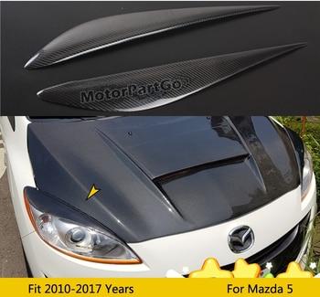 Real Crabon Fiber Head light Eyelid Eyebrow Cover Trim 1pair for Mazda 5 2010 - 2017  T205 1