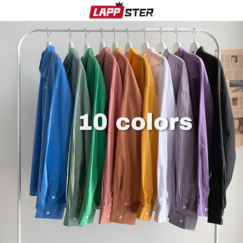 LAPPSTER Mens 10 Colorful Solid Shirts Long Sleeve 2020 Mens Harajuku Korean Vintage Shirts Women Button Up Shirt Regular Fit
