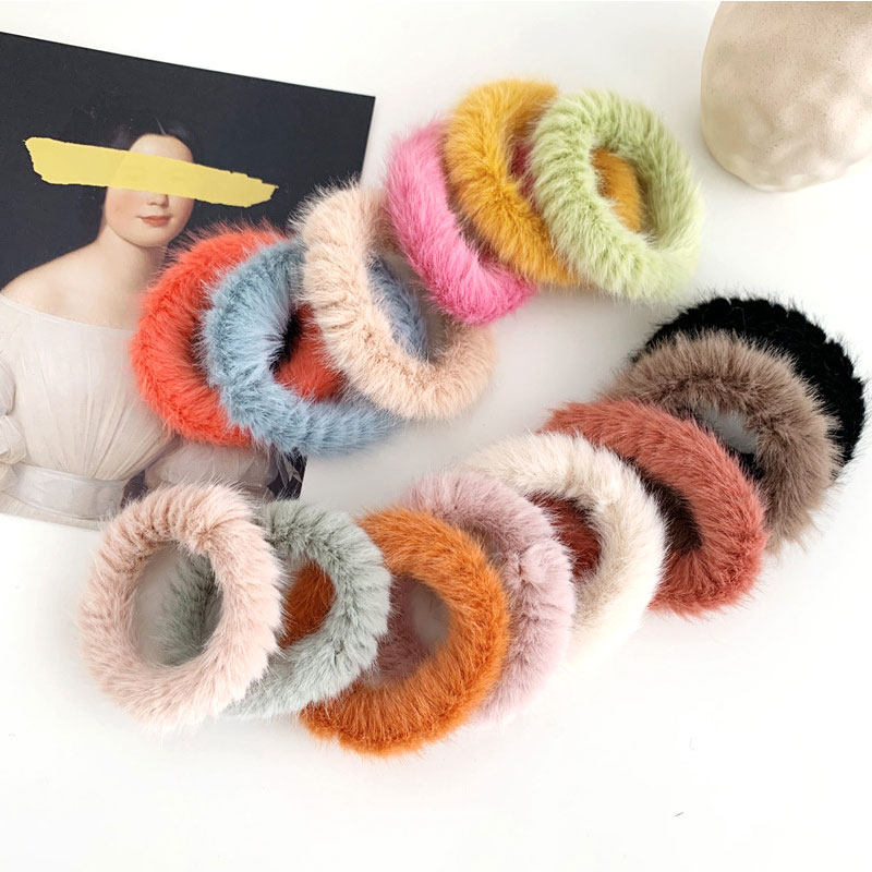 1PC Women Girls Candy Color Soft Faux Fur Scrunchie Fluffy Hair Ring Winter Cute Sweet Rubber Bands Hair Ties Hair Accessories
