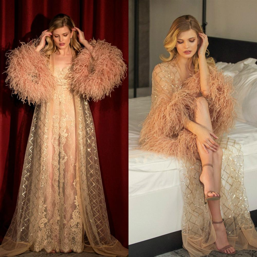 Gorgeous Illusion Night Robe 2020 Long Sleeve Feathers Party Sleepwear Custom Made Luxury Nightgowns Robes With Belt