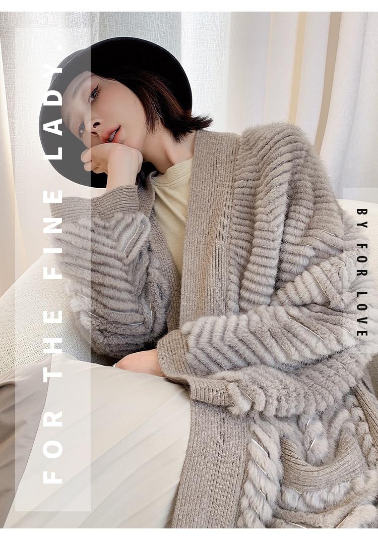 Hb5b743c57e0742f9b2f5f92c0c6c20168 HDHOHR 2021 New High Quality Natural Mink Fur Coat Women With Belt Knitted Real MinkFur Jacket Fashion Warm Long For Female