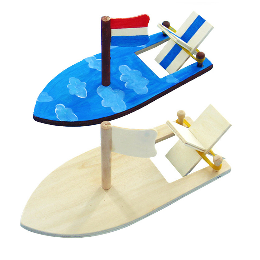 Children Painted DIY Boat Handmade Kits Kids DIY Wooden Sailboat Model Kindergarten Educational Puzzle Toys