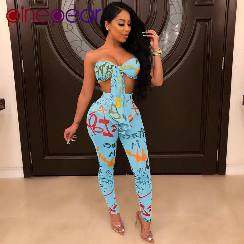 PinePear Mesh Letter Print Bandage Bra + Pants 2 Piece Set Women Two Piece Outfits Night Club Matching Sets 2020 Dropshipping