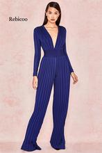 Sexy women's jumpsuit rayon deep V-neck stripe full-length party jumpsuit 2019 new