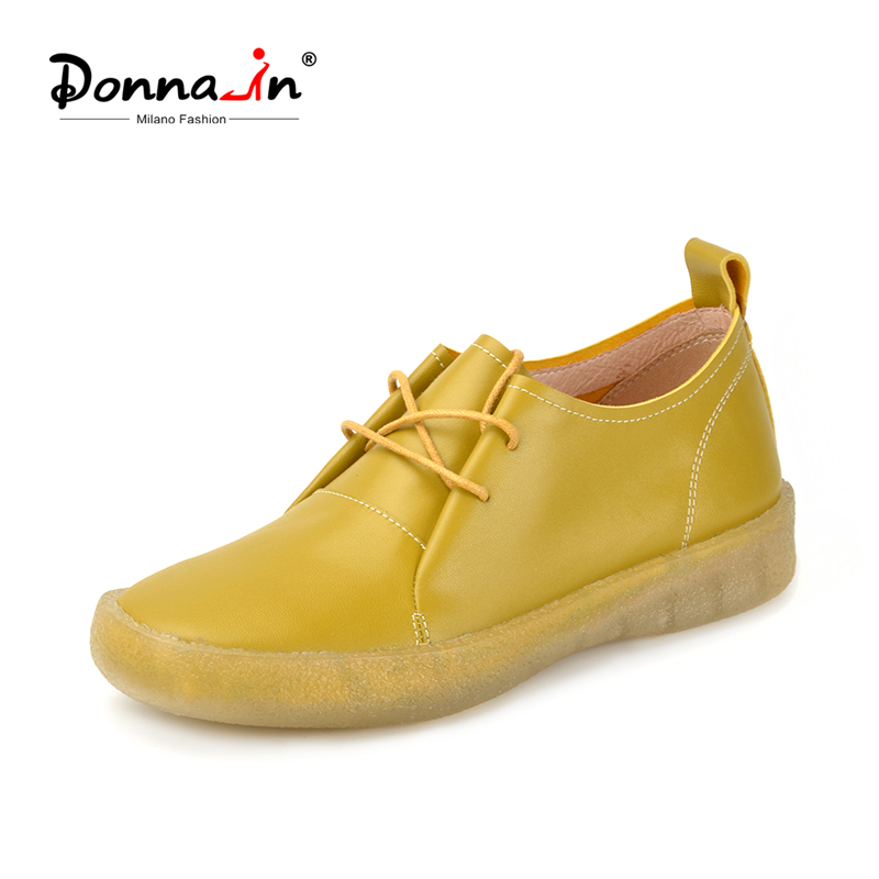 Donna-in Spring Soft Lace up Women Shoes Flat Genuuine Leather Comfortable Casual Concise Footwear Women Creepers Shoes Blue