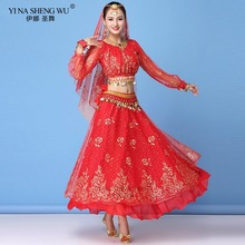 Adult Bollywood Dress Costume Women Indian Dance Sari Belly Dance Outfit Performance Clothes Chiffon Long Sleeve Top Belt Skirt