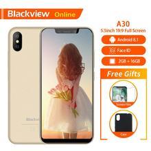 """البلاكفيو الأصلي A30 2GB + 16GB 5.5 """"الهاتف الذكي 19:9 شاشة كاملة MTK6580A رباعية النواة أندرويد 8.1 المزدوج سيم الوجه معرف الهاتف المحمول"""