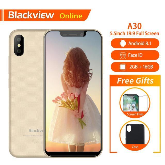 "Blackview המקורי A30 2GB + 16GB 5.5 ""Smartphone 19:9 מלא מסך MTK6580A Quad Core אנדרואיד 8.1 ה SIM הכפול פנים מזהה נייד טלפון"