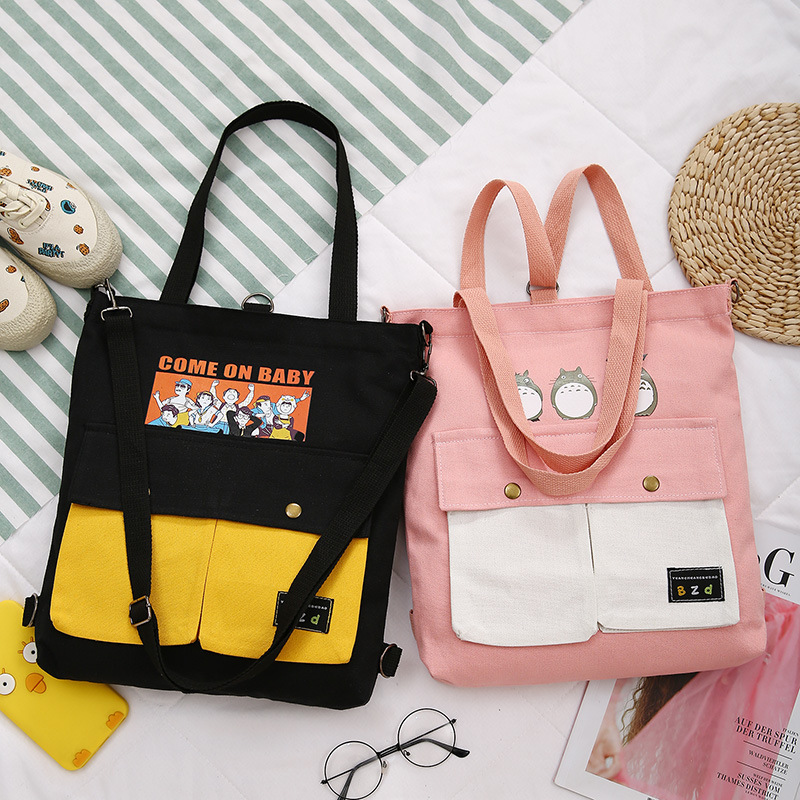 Women Backpack 2020 New Fashion Cartoon Printing Female Cute Canvas Shoulder Bags Soft Girls Student Backpacks School Bags