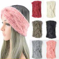 Frauen Gestrickte Stirnband winter Weiche Wolle Kreuz Verdreht Haarband haar accessoires Farbe Kopf Wrap haar bands gumki tun wlosow