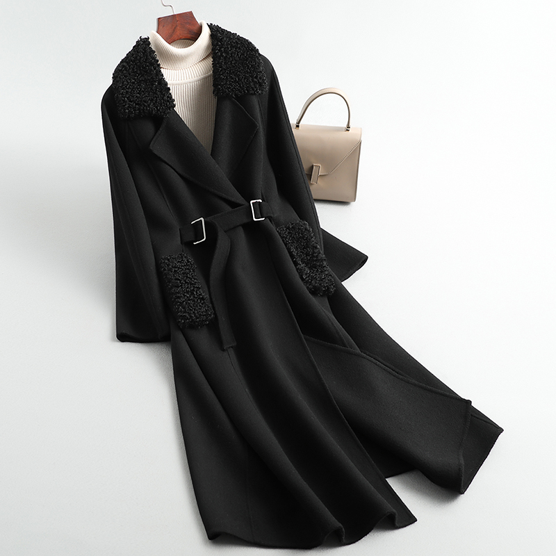 High-end female knee-high long cashmere coat loose cloth coat collar pure wool double-sided wool coat black spring winter 2020