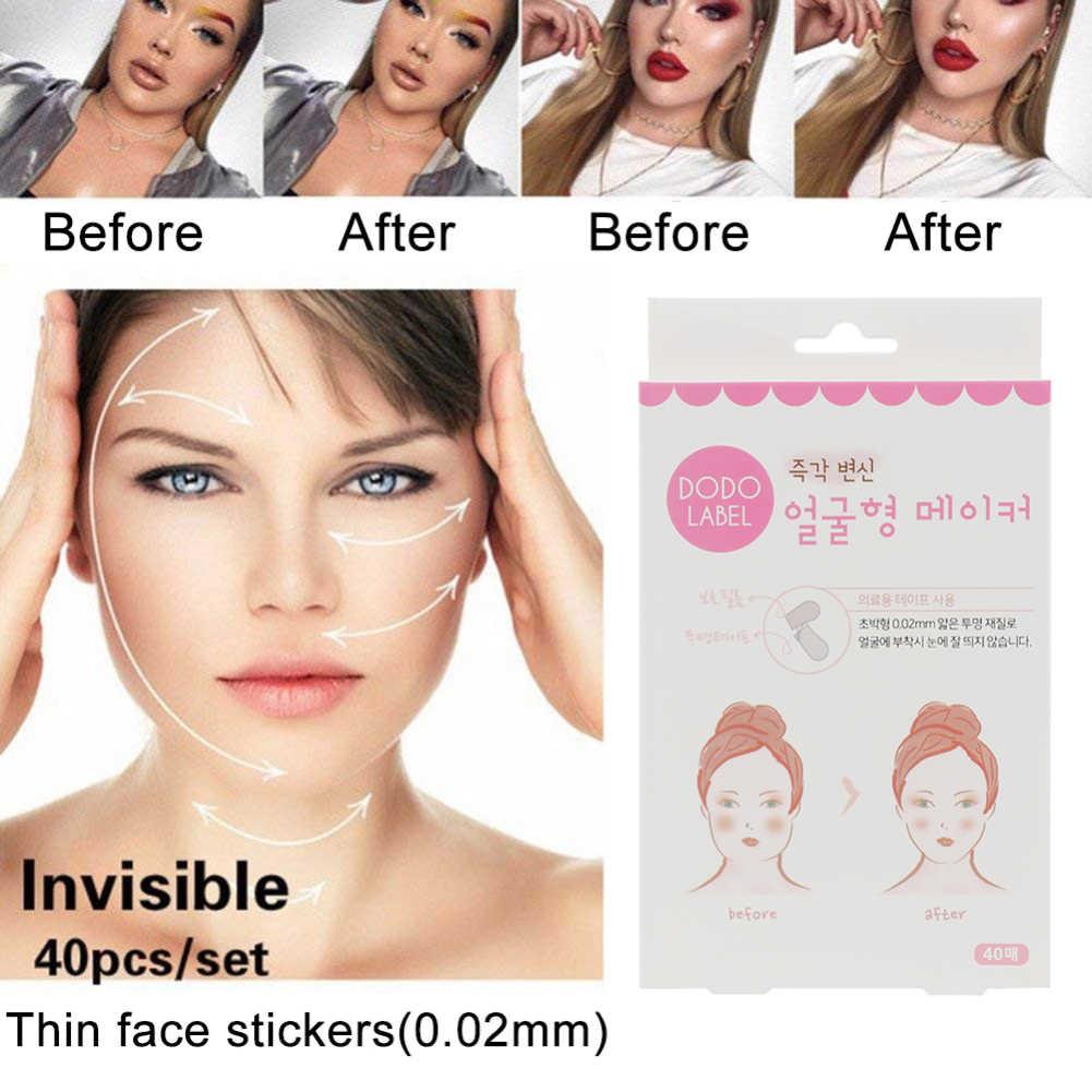 40 teile/satz Unsichtbare Dünne Gesicht Gesichts Aufkleber Gesichts Linie Falten Schlaffe Haut V-Form Facelift Bänder Make-Up Gesicht lift Werkzeuge
