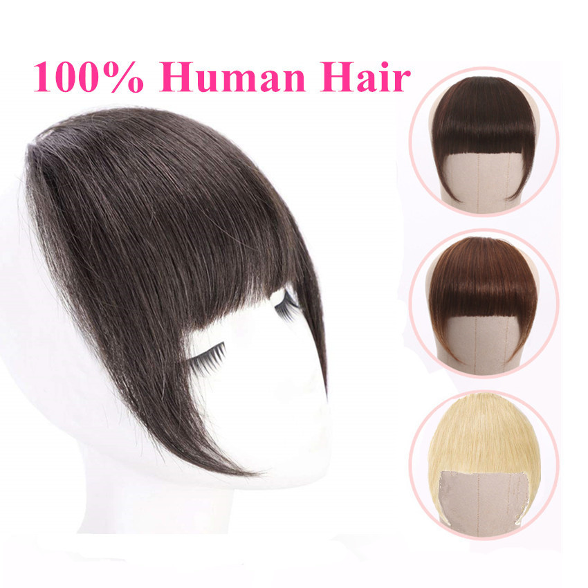 Brazilian Human Hair Blunt Bangs Clip In Human Hair Extension Non-Remy Clip-In Fringe Hair Bangs 613 Blonde Neat Bang Halo Lady