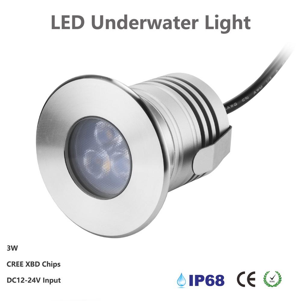 Светодиодный подводный фонарь для фонтана, 12 В постоянного тока, 24 В, 3 Вт, освещение для бассейна, водонепроницаемое алюминиевое точечное ос...