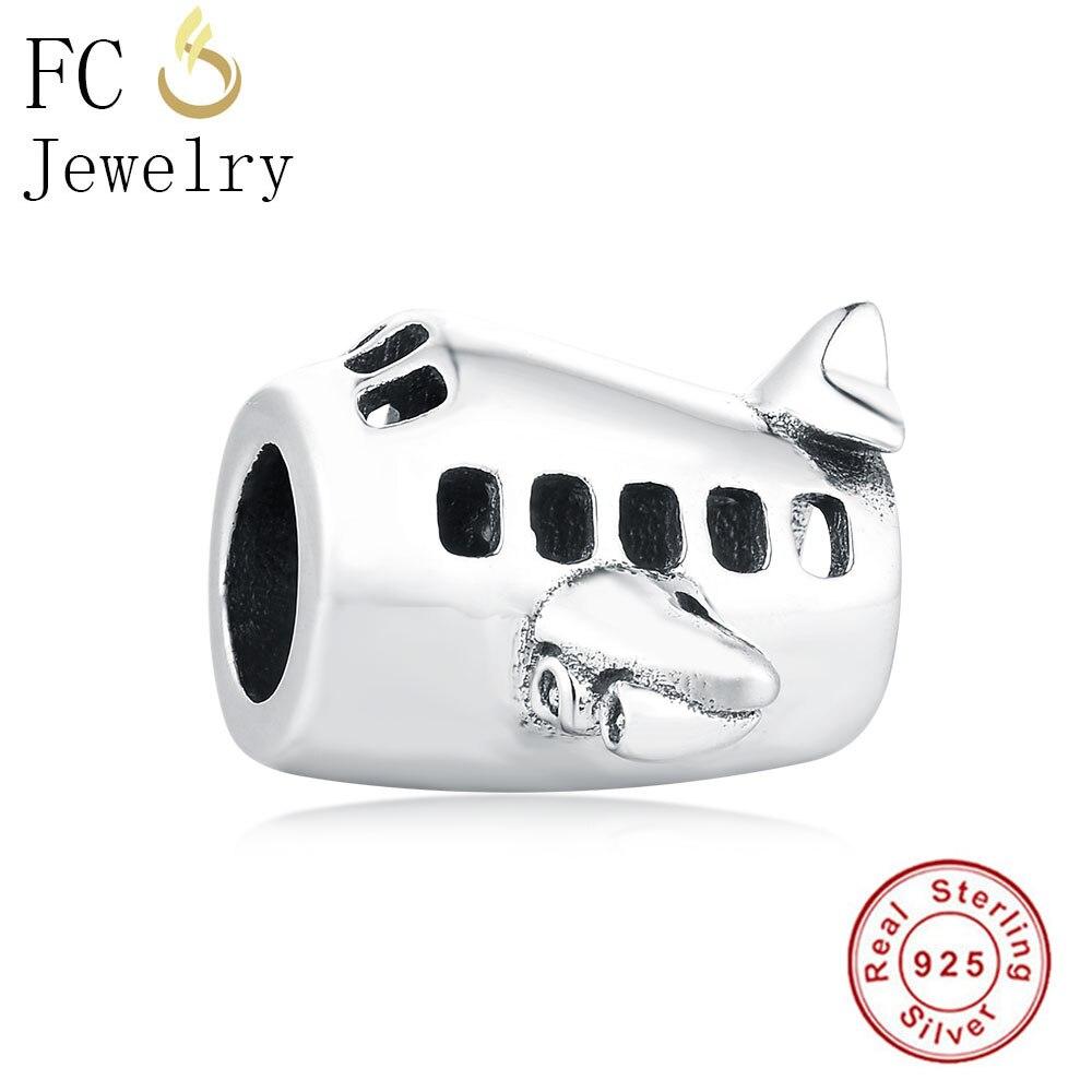 FC Jewelry Fit Original Pandora Charm Bracelet 925 Sterling Silver Travel AirPlane Aircraft Plane Wing Bead Making Kids Berloque