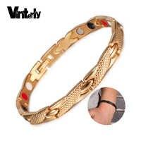 Vinterly énergie Bracelet magnétique hommes couleur or chaîne santé Bracelet mâle Germanium acier inoxydable Bracelets magnétiques pour hommes