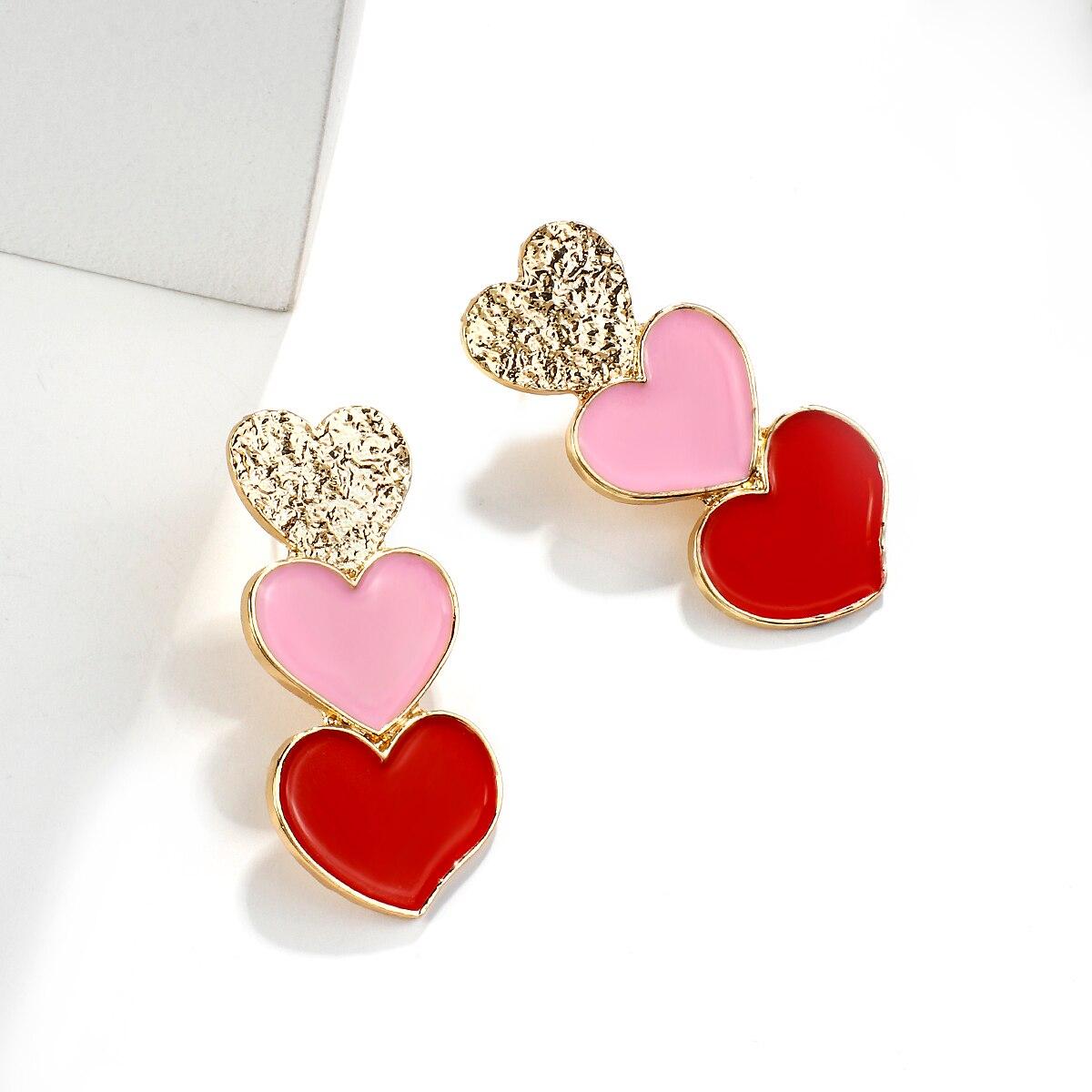 AENSOA Lange Rot Rosa Gold Herz Anhänger Tropfen Ohrringe Koreanische Stil Erklärung Lange Charme Herz Form Ohrringe Partei Schmuck Geschenk