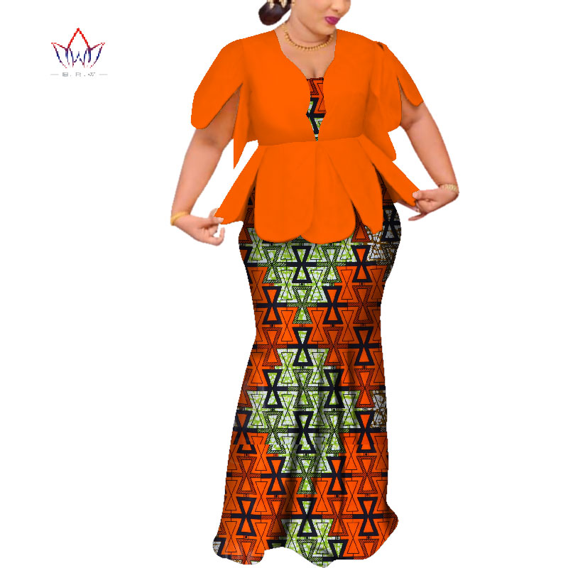 2019 African Dresses For Women Dashiki African Dresses Short Sleeve Colorful Wedding Plus Size African Clothing BRW WY3797