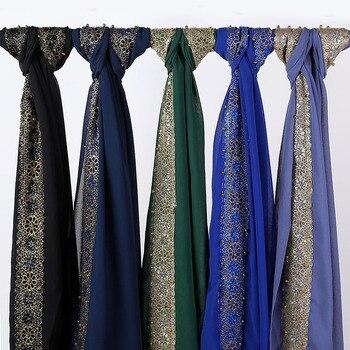 Muslim Lace Chiffon Scarf Women Hijab Headband Plain Solid Headscarf Shawls and Wraps Islamic Scarves Foulard Femme Musulman premium floral printed chiffon hijab scarf women muslim headscarf shawls and wraps islamic scarves turban headband foulard femme