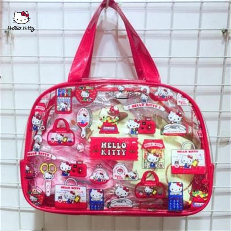 HELLO KITTY Fashion Ladies Bag PVC Material Handbag Transparent Jelly Clutch Bag Purse Transparent Handbag HK-TT064
