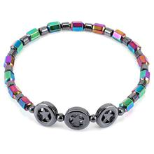 Fashion Colorful Circle Star Black Magnet Stone Anklet Leg Chain Charm Star Beads Bracelet Summer Beach Jewelry Gift For Woman(China)