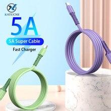 USB-кабель KSTUCNE 5A Type C для Samsung Huawei P40 Xiaomi 10, зарядный шнур из жидкого мягкого силикона для передачи данных, Сверхбыстрый зарядный кабель 5A