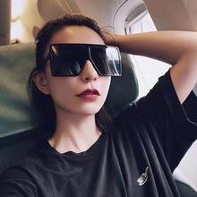 Gafas de sol de gran tamaño para mujer, lentes de sol cuadradas negras a la moda con marco grande, gafas clásicas Retro Unisex