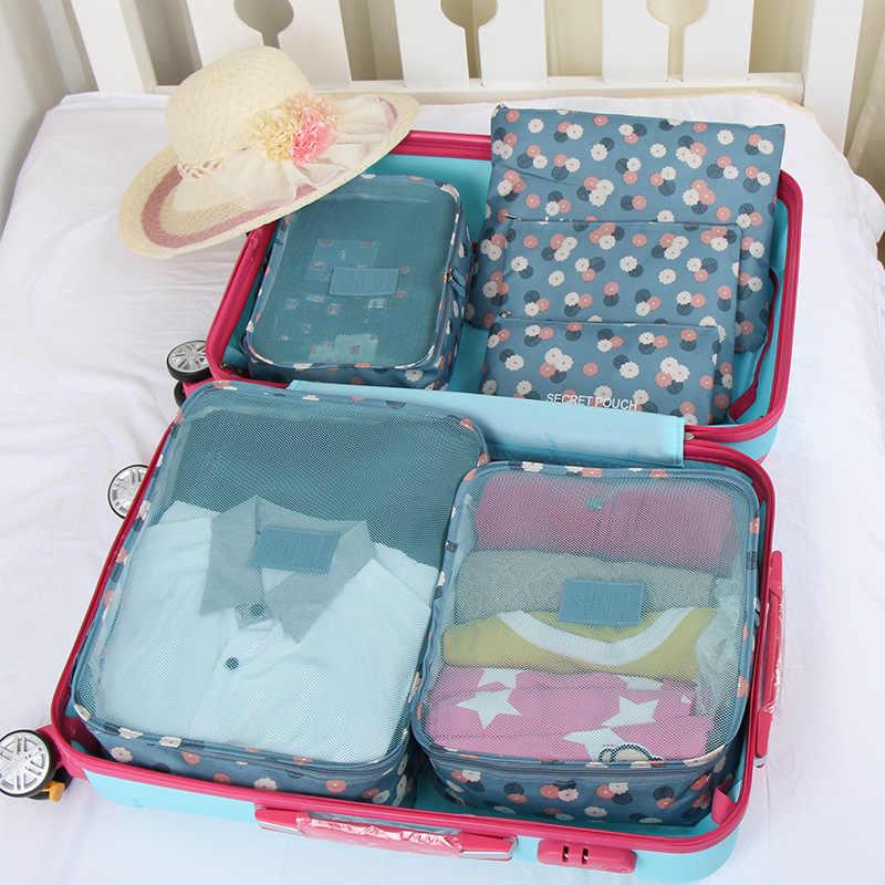 6 pz/set Organizzatore di Viaggi Borse contenitore Portatile Dei Bagagli Organizzatore Vestiti In Ordine Del Sacchetto Valigia di Imballaggio Lavanderia Sacchetto di Immagazzinaggio Della Cassa