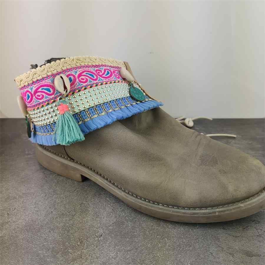 Boho съемные туфельки с бантами ремни шнурки Ленточные ремни для удерживания свободного сапога Пояс украшения шнурки ювелирные изделия