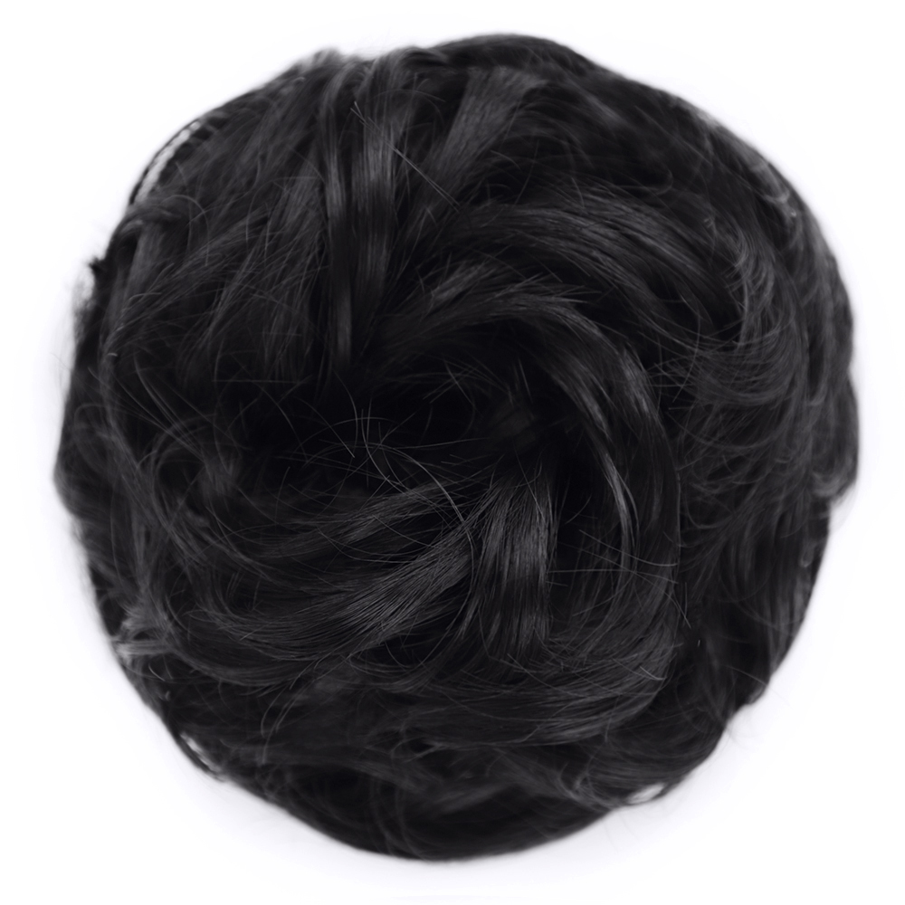 Пучок волос кудрявый Dount Updo синтетические Scruchies эластичный зажим в шиньон для наращивания шиньон аксессуары для волос Термостойкое волокно - Цвет: 1B