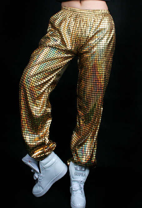 Pantalones de baile hip-hop sueltos con lentejuelas reflectantes láser Jazz Hiphop purpurina para hombres y mujeres