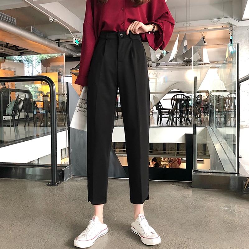 Women Suit Pants Fashion Female Office Lady High Waist Harem Pant Pantalon Casual Trousers Plus Size S-5XL 2020 Spring Summer