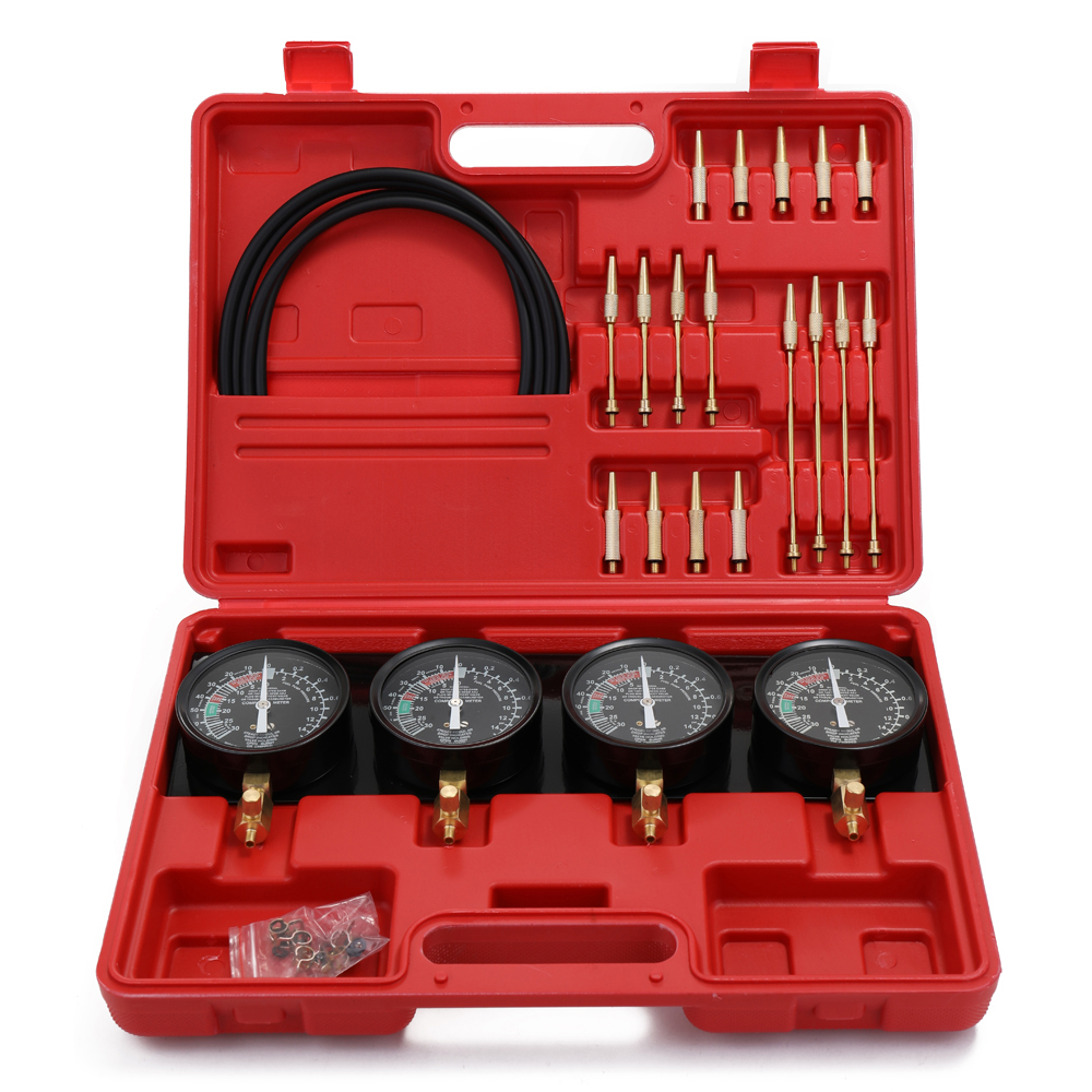 Meterk Professional Portable Fuel Vacuum Carburetor Synchronizer Set 4 Gauges Tool Kit For Motorcycle