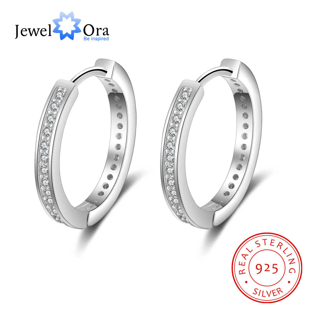 Solid 925 Sterling Silver Hoop Earrings for Women Round Circle Earrings with Zirconia Silver 925 Jewelry (Jewelora EA102005)