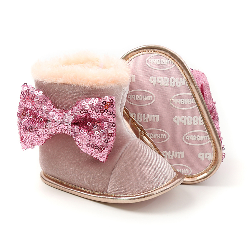 Solid Bling Soft Snow/infant /baby Girl/boots Crib Shoes Toddler Warm Winter Flower Baby Boots Little Girl Shoes Newborn Snekers