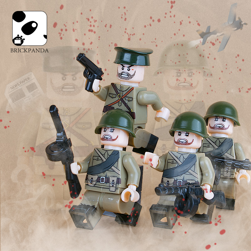 WW2 Military Army Soviet Soldiers Figures Building Blocks Russia Officer Weapon Guns Parts Accessories Bricks Toys For Children