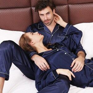Image 1 - Pyjama en soie à manches longues pour hommes, ensemble vêtement de luxe mince, soie glacée, pour la maison