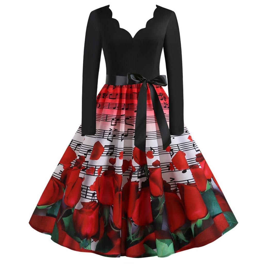Women Dress Elegant Long Sleeves A Line Swing Music Red Rose Floral Print Dress 50s 60s 1950s Housewife Rockabilly Vintage Dress