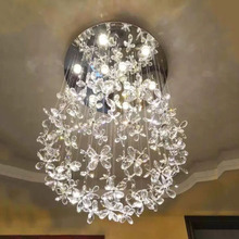 גביש אור מסעדת נברשת יוקרתי סלון חדר שינה אור שן הארי יצירתי מדרגות אור כדור פרח אור
