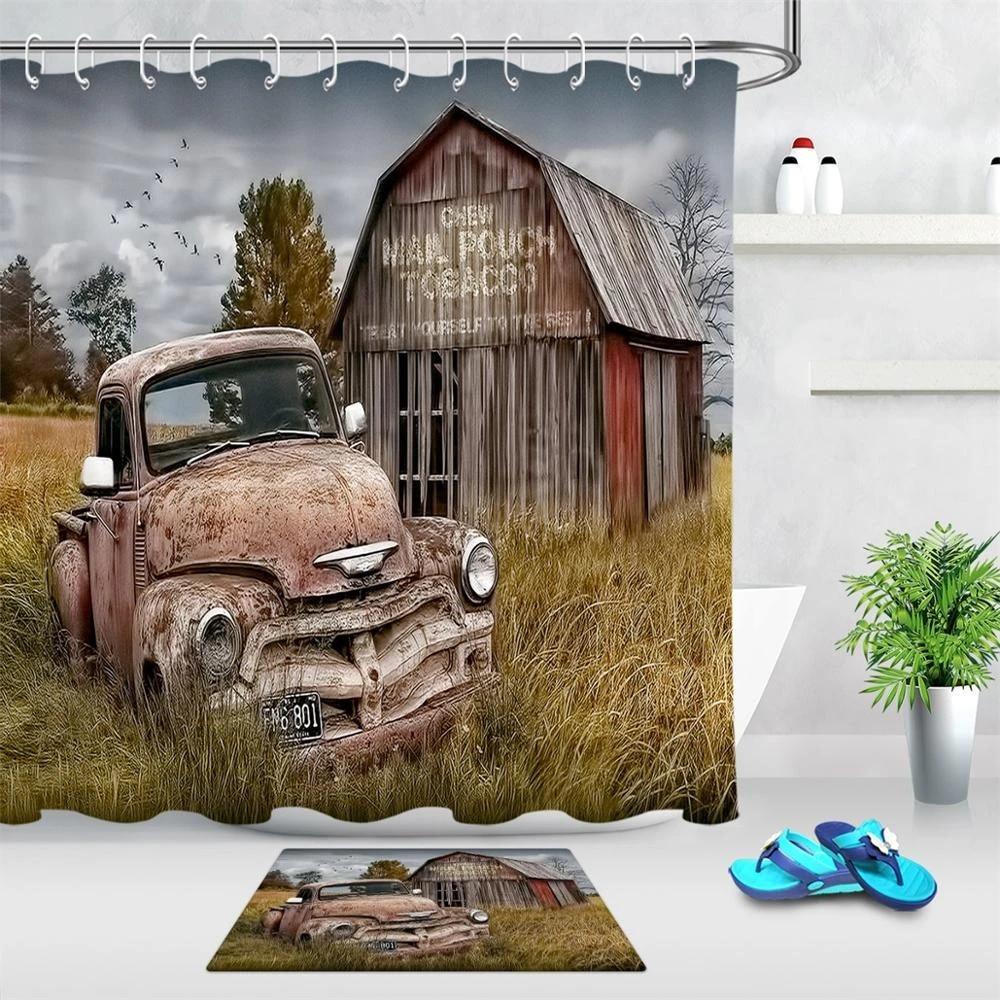 farm house bath curtain wooden barn rusic truck polyester fabric shower curtain for bathroom decor mat shower curtains hooks