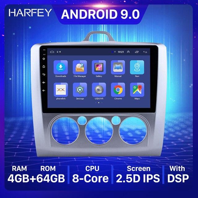 Harfey 2din 9 אינץ עבור 2004 2011 פורד פוקוס 2 רכב אוטומטי מולטימדיה נגן אנדרואיד 8.1 רדיו GPS 3G WIFI OBD2 RDS Bluetooth SWC