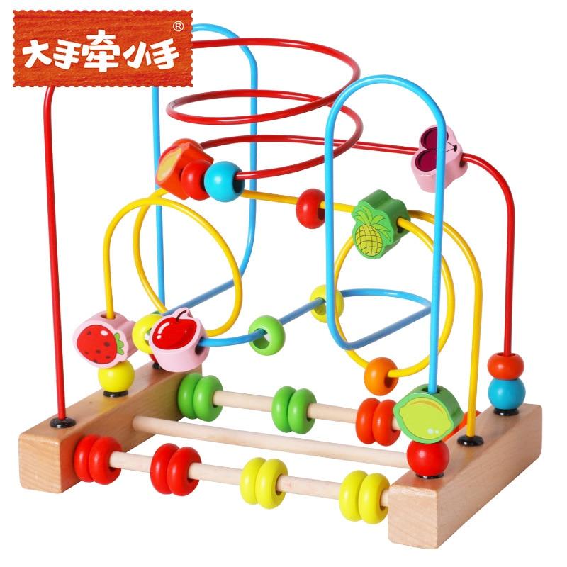 Grandes mains pour jouets en bois à cordes pour enfants et nourrissons blocs de construction fruits animaux trois blocs pour enfants