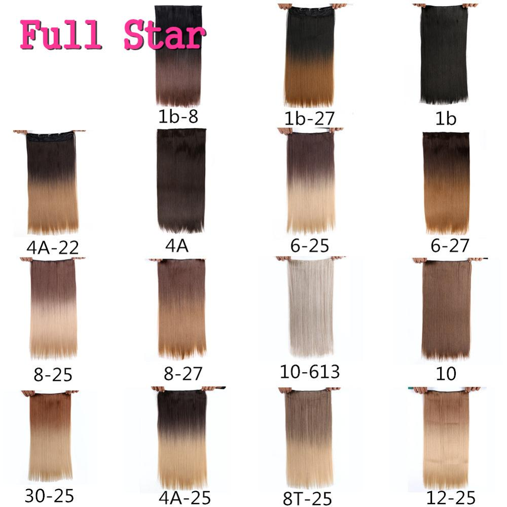 Closeout DealsFull Star Ombre Full Head Nature Wave Clips in on Synthetic Hair Extensions Hair piecesè