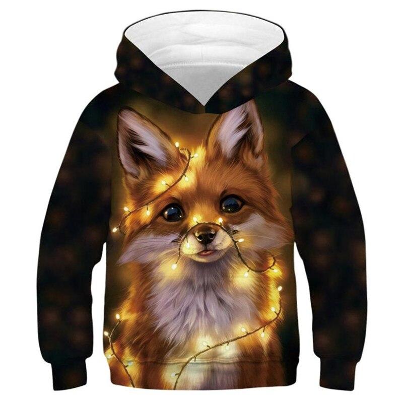 Fox Hoodie Sweatshirt Kids 3D Animal Printed Long Sleeve Cute Hoodies For Teen Girls Boys Tracksuits Children Hip Hop Pullover