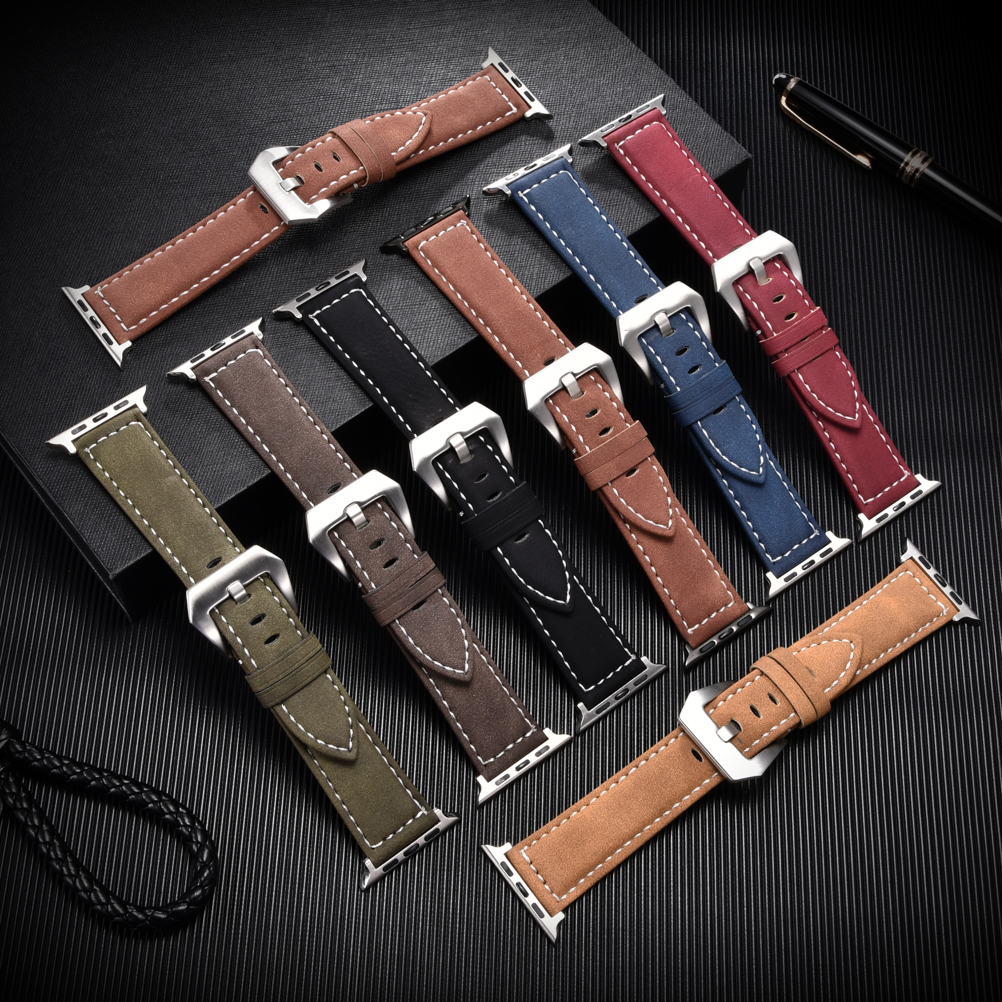 Vintage Leather Watch Strap for Apple Watch Accessories 40mm 44mm Series SE 6 5 4 3 Watchband 38mm 42mm for iwatch Straps