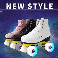 Double Row Roller Skates  Adult  Men and Women Adult Roller Skates Flash   2 Line 4 Wheel Skating Shoes